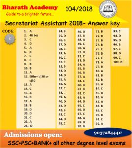 Secretariat Assistant – 13 October 2018 – Answer key